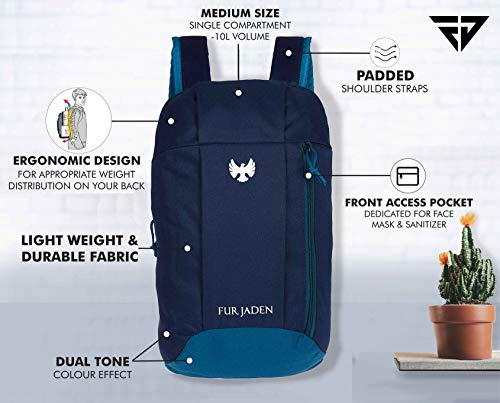 Fur Jaden Hiking Camping Rucksack Casual 10 Ltrs Blue Casual Backpack