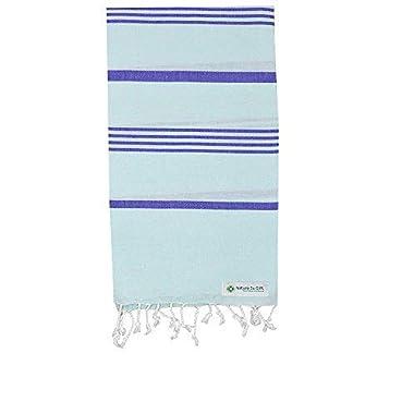 Nature Is Gift Turkish Pestemal Towel Bath Beach Towel Yoga Sarong Gym Spa Sauna Fouta Peshtemal Pool Towel 100% Cotton Aqua-Blue