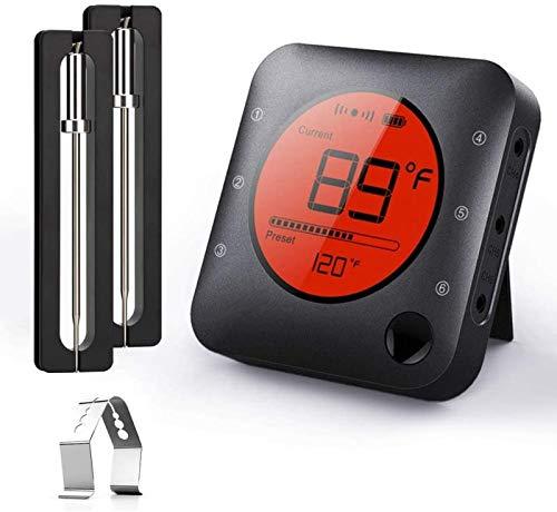 BFOUR Bluetooth Grillthermometer, Digital Funk BBQ Thermometer mit 2 Sonden Fleischthermometer Bratenthermometer 2 Temperaturfühlern mit Alarm Geschenk für Küche,Ofen, Fleisch und Flüssigkeit