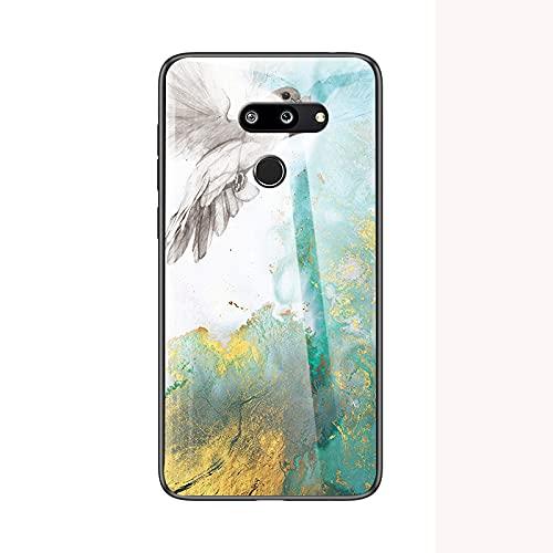Capa de celular de mármore para LG G8 ThinQ, capa à prova de arranhões de vidro temperado para LG G8 ThinQ - E