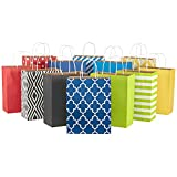Hallmark 12' Large Paper Gift Bag Assortment, Pack of 12 in Blues, Red, Yellow, Black - Solids and...