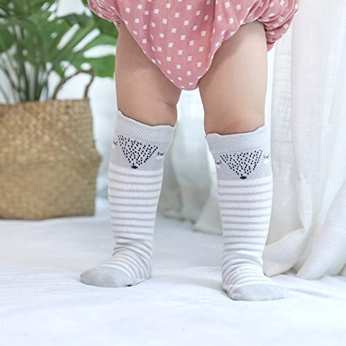 Hiver Chaud Nouveau-Né Bébé Chaussettes Sur Le Genou Haute Bande Dessinée Animaux Bas Épaisses Chaussettes Pour Tout-Petits pour Filles Garçons-Gris 1 0-2 Ans