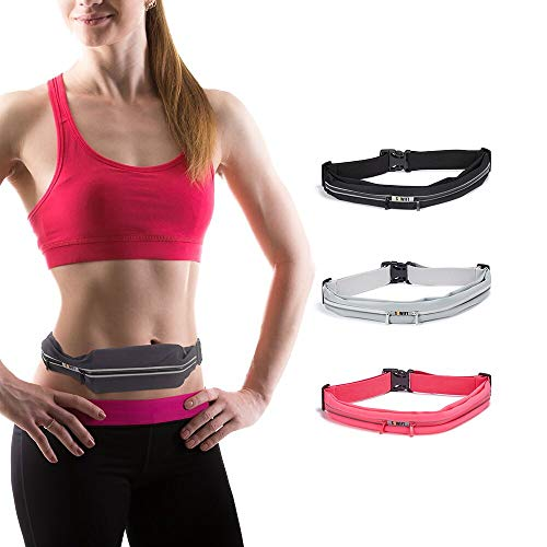 Sowift Running Pouch Belt, Water Resistant Runners Belt Fanny Pack, No-Bounce Waist Bag for Hiking Fitness Fits Smartphones iPhone 11 pro max Xs x 6 7 8 Plus, Samsung S11 for Men and Women