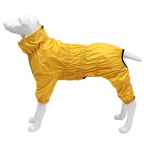 Morezi hond regenjas met hoge kraag waterdichte regenjas voor honden reflecterende vier-poot regenpak jumpsuit voor puppies klein medium huisdier, XXX-Large(Back: 55cm), Geel