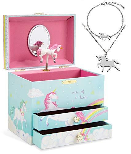 Jewelkeeper - Carillon portagioielli con Unicorno e Set di Gioielli per Bambine - 3 Regali a Tema Unicorno per Ragazze