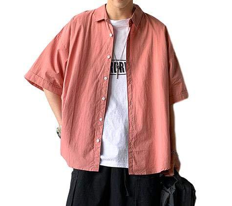 [フォーリーフ] 半袖シャツ ビッグシャツ 無地 シンプル ゆったり 大きいサイズ トップス キレイ目 おしゃ...