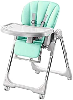 LAZ Baby High Chair, Fold Toddlers Booster Feeding Seat for Dining, 5 Point Harness & Washable Double Tray (Color : Green,...