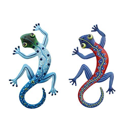 YARNOW 2 Piezas de Decoración de Pared de Gecko de Metal Adornos de Pared de Jardín Decoraciones de Pared de Arte de Lagarto Al Aire Libre para Esculturas de Pared de Patio Cerca Jardín