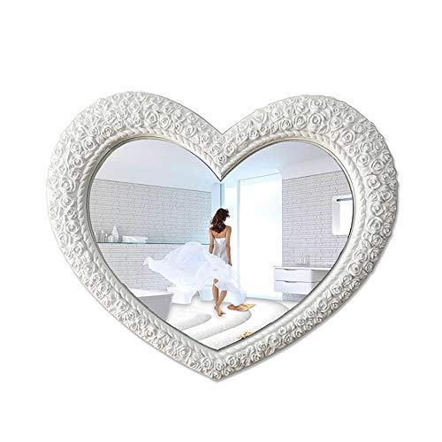 YXYH Casa Baño Espejo Pared Forma Corazón Estilo Antiguo Vintage Espejos Decorativos para Sala Estar Entrada Dormitorio 34,6x28,3 Pulgadas Salón Mirror (Color : White)