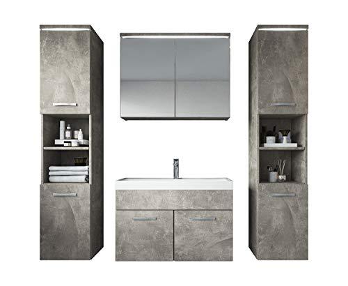 Badezimmer Badmöbel Set Paso XL LED 80 cm Waschbecken Sonoma Eiche - Unterschrank 2x Hochschrank Waschbecken Möbel