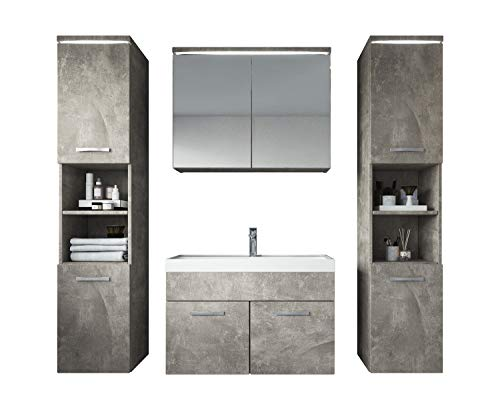 Badezimmer Badmöbel Set Paso XL LED 80 cm Waschbecken Beton (grau) - Unterschrank 2X Hochschrank Waschbecken Möbel