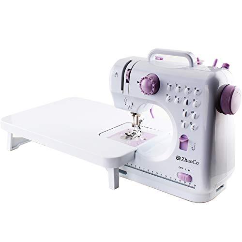 Máquina de Coser Doméstica con Mesa de Extensión, Herramienta de Coser Overlock Eléctrica Portátil y Multifuncional para Principiantes Coser en Casa Artesanía Costura DIY
