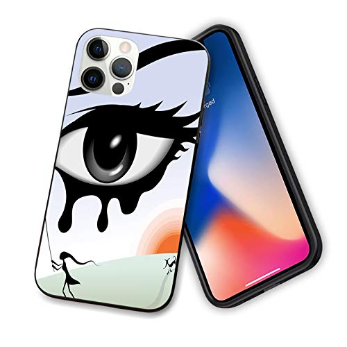 Compatible con iPhone 12 Series 2020 Surreal Avant Garde Art Composition Girl Runs with Eye Stick Tears Sunset Dog Image for IP12mini-5.4 inch