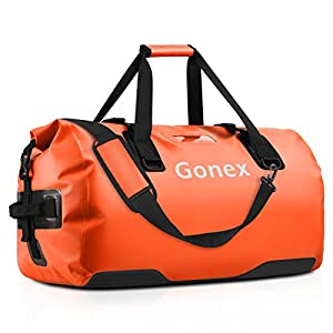 Gonex 60L Extra Large Waterproof Duffle Travel Dry Duffel Bag Heavy Duty Bag with Durable Straps & Handles for Kayaking Paddleboarding Boating Rafting Fishing Orange
