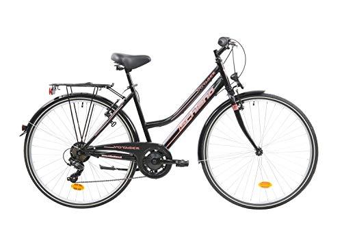 F.lli Schiano Voyager Bicicleta Trekking, Women's, Negro-Roj