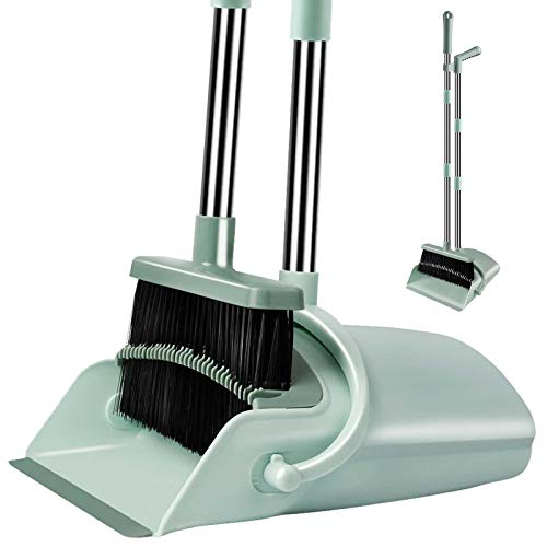 Kelamayi Dustpan & Broom Set, Durable & Foldable Lobby Broom and Upright Dustpan Comb Designed with Stainless Steel Long Handle, Ideal for Home Kitchen Cleaning (Jade Green)
