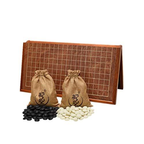 Spielset Doppelte konvexe Yunzi-Steine mit zwei Go-Pieces-Tabletts und zusammenklappbaren MDF-Go-Brettspiel-Geschenken für Herren und Jugendliche (Farbe: B1)