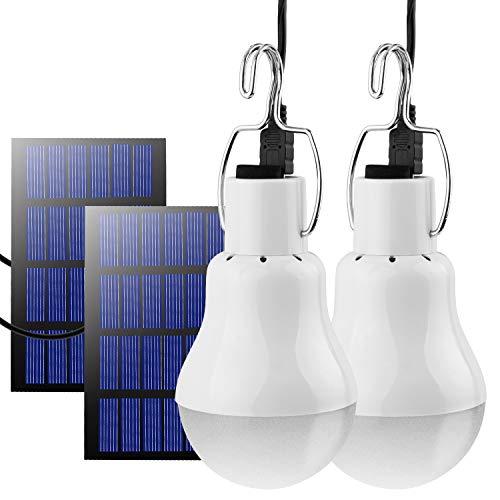 2 x Lampe Solaire Portable,TechKen LED Lampe d'urgence Solaire Ampoule à Crochet Lanterne Camping Puissante Lumiere Éclairage avec Panneau Solaire (2 Lampe Solaire)