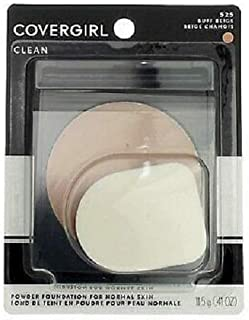 COVERGIRL Clean Powder Foundation, Buff Beige 525, 0.41 Ounce (Packaging May Vary) Hypoallergenic Powder Foundation with Mirrored Compact