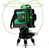 Niveau laser, Careslong 12 line de nivellement automatique 3 * 360 ligne transversale horizontale et verticale ligne de faisceau laser vert IP54 nivellement et alignement étanche moins de 5nw