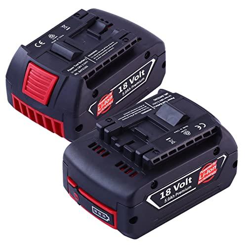 Dosctt 2 X 18V 5.0Ah BAT609 Reemplazo para Bosch Batería Profesional Sin Cable CoolPack GBA BAT609G BAT610G BAT618G BAT619 BAT621 BAT620 con Indicador LED Herramientas eléctricas