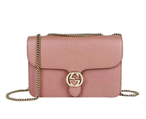 Gucci Women's Soft Pink Leather Interlocking G Large Crossbody Chain Bag 510303 5806