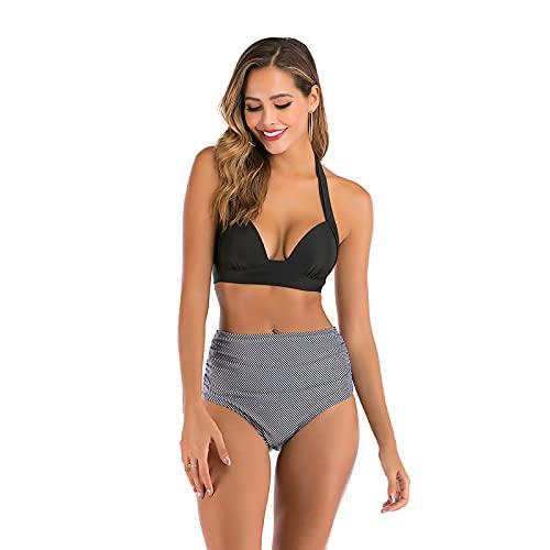 Shhyy Traje de Bikini,Mujer Bikini con Cuello Halter Acolchado y Volante Acanalado de Cintura Alta y Traje de baño,A,L