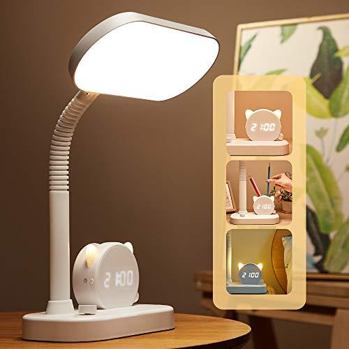 Lámpara de escritorio LED,40 LED,regulable,3 colores y 4 niveles de brillo,luz USB respetuosa con los ojos con control táctil,cuello de flexible de 360°para oficina,lectura,estudio.
