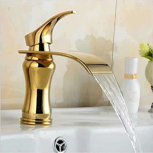 Waterfall Gold Faucet Single Handle Antique Kitchen Basin Mezclador Grifos Grifo para lavabo con un orificio