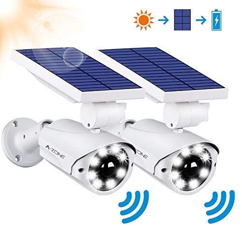 Solar Motion Sensor Light Outdoor - 800Lumens 8 LED Solar Security Lights 5-Watt IP66 Waterproof, Wireless Solar Flood Light for Porch Garden Patio Driveway Pathway,Aluminum,Pack of 2 (White)