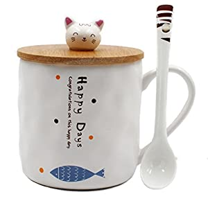 Japanese Cat Ceramics Coffee Mug Teacup with Lid and Spoon