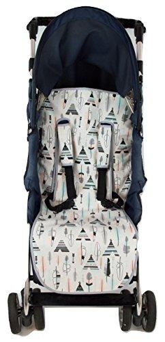 Colchoneta o funda Universal para silla de paseo o cochecito + Protector de arneses. Modelo Tipis y Plumas