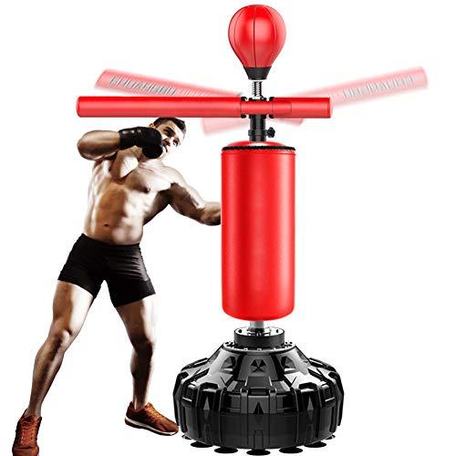 VIKMKM Standboxsack Erwachsene Stehend, 3 in 1 Punchingball mit Reflex Bar, Schwerlast Sandsäcke Boxstand Höhenverstellbar,Rot,180cm