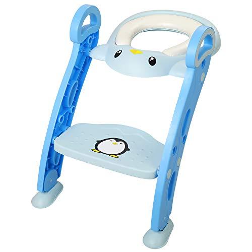 Amzdeal Riduttore WC per Bambini con Scaletta Pieghevole, Vasino Sedile per Baby Training WC con Morbido Antiscivolo Cuscinoe, Azzurro