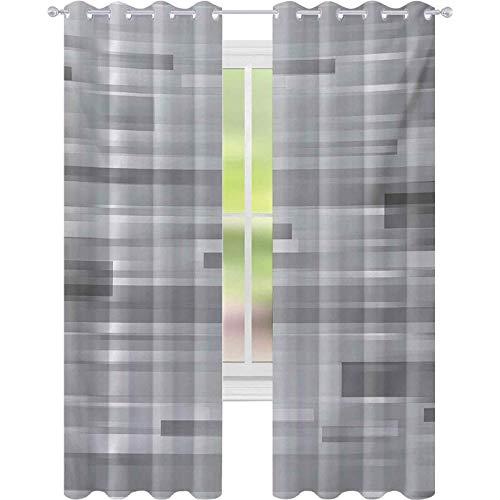 Cortinas opacas para niños, Futuristic Rayas Web Forms Artístico Contemporáneo Gráfico Fusión Ilustraciones Impresión, W52 x L95 Cortina opaca para sala de estar, gris plateado