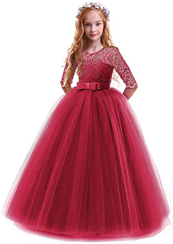 Toddler Girl's Embroidery Tulle Lace Maxi Flower Girl Wedding Bridesmaid Dress 3/4 Sleeve Long A Line Pageant Formal Prom Dance Evening Gowns Casual Holiday Party Dress Burgundy 9-10