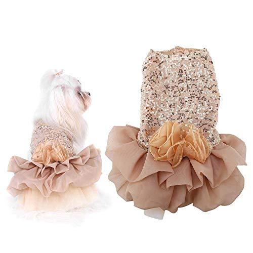 POIUY Bling Hund Hund Prinzessin Hochzeitskleid Bequem,goldene Trompete