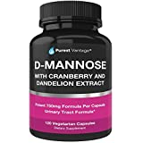 D Mannose Capsules with 600mg D-Mannose Powder Per Cap - with Added Cranberry and Dandelion Extract to Aid in Bladder, Urinary Tract and UTI Support - 120 Veggie Caps