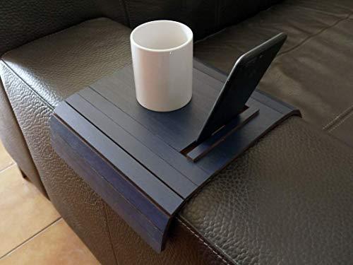 Holz sofa armlehnentisch mit smartphone und tablet stehen in vielen farben wie nacht blau Armlehnentablett Moderner tisch für couch Klein schleichendes sofatisch Armlehne flexibel tablett
