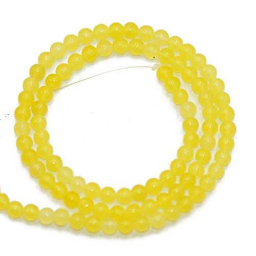 FITYLE Hilo de 15.5'Jade Amarillo Brillante Joyas Redondas Lisas Cuentas Sueltas Piedra Preciosa 4mm
