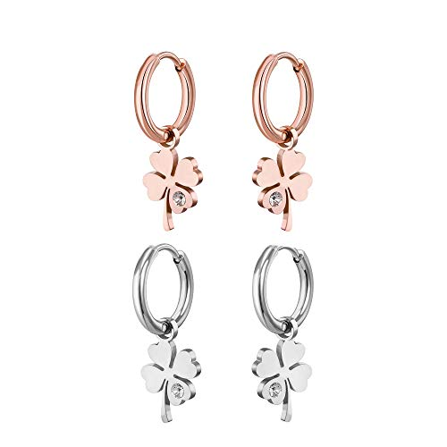 2 Pcs Woman Four Leaf Clover Earrings, Cubic Zircon Crystal Inlaid, Hypoallergenic Materials, Exquisite Birthday Gifts For Girls