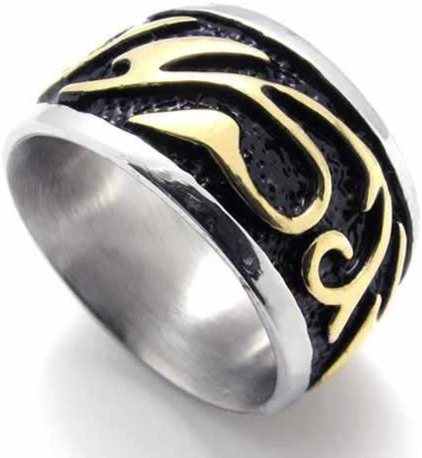 K-Design Stainless Steel 316L Rings Black Circle Stamp gold Flower Pattern Men Rings Wedding Exaggerated Rings 20301