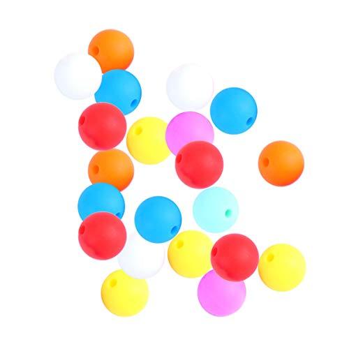 HEALLILY 100 Piezas de Silicona para Bebé Collar de Dentición Cuentas Mordedor Juguete Cadena de Chupetes Cuentas Masticables Bebé Cumpleaños Ducha Regalo (15 Mm Color Mezclado)