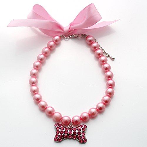SKS PET Pearls Dog Cat Necklace Collar Ribbon Rhinestone Big Bone Charm Pendant for Female Puppy Chihuahua Yorkie Girl Adjustable Handmade (Pink, S)