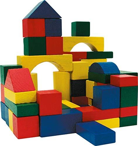 Marionette Wooden Toys 8711252168265 - Bloques de Madera (50 Unidades), Color Rojo, Amarillo, Verde y Azul