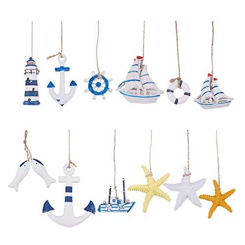 PandaHall 12 pcs Nautical Marine Decoration Kit, Starfish/Boat/Anchor/Lighthouse/Helm/Anchor/Swim Ring Home Mini Fishing Net Accessories Beach Coastal Wall Ornaments