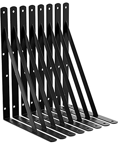 LEOPO 14 Inch Shelf Brackets for DIY Floating Shelf, Heavy Duty L Brackets, 90 Degree Triangle Corner Bracket, 8 Pack