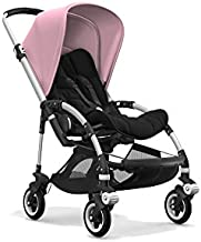 Bugaboo Bee5 Stroller Bundle with Aluminum Base, Soft Pink Canopy, Black Seat/Grips and White Wheel Caps