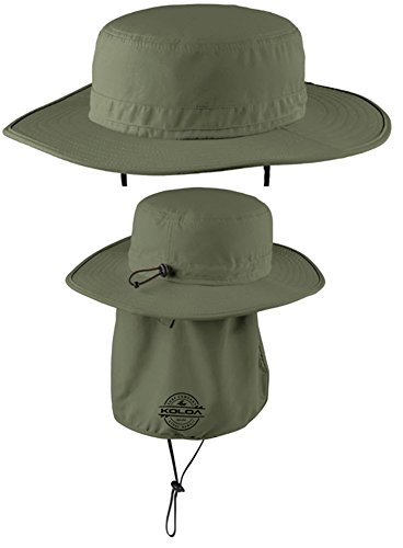 Koloa Surf Co. Wide-Brim Outdoor Hat with Sun Flap-Olive/b-L/XL