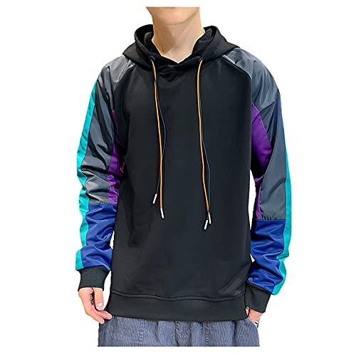Color de los hombres a juego colorido casual jersey con capucha suéter de fondo suelto